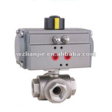 Pneumatic 3Way Stainless Steel Floating Ball Valve