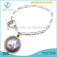 Custom stainless steel 1:1 NK Chain floating locket bracelet, Silver& Chocolate locket bracelet