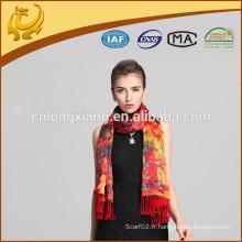 Écharpe en soie pour femmes à la mode Écharpe imprimée à brosse et imprimé imprimé châle imprimé