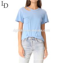 Hochwertige Kleidung Hersteller Design Kurzarm Frauen Bluse Tshirt