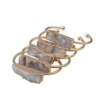 Мода природные реальные красочные горный хрусталь Кристалл кластера подвески браслеты покрытием золото медь Браслет простой ювелирные изделия для женщин девушки
