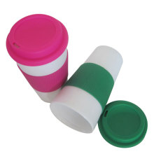 Double Wall Plastic Coffee Mug With PP Lid Reusable