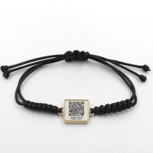 17cm Free Custom Two-Dimension Code with Braided Leather Bracelet