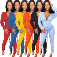 C7259 Latest Women Winter Bomber Jacket Puff Sleeve Corset Top Clothes Blouses Outfits 2 Piece Stacked Pants Joggers Suits Set