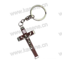 Simple Wood Cross with Metal Mobile Rosary Keychain