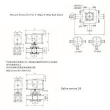 Válvula de bola de tres vías manual de plataforma alta sanitaria