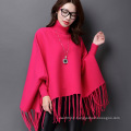 Lady Fashion Turtle Neck Acrylic Knitted Fringed Winter Poncho (YKY4514)
