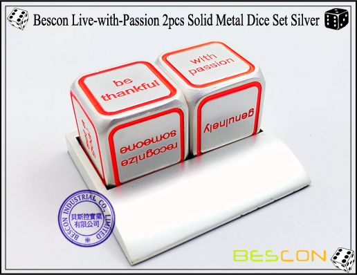 Bescon Live-with-Passion 2pcs Solid Metal Dice Set Silver-1