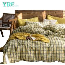 Dorm Room Cotton Bed Sheet Set High Quality Modern Design Soft Khaki Plaid