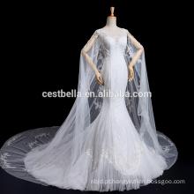 Appliqued Flowers Tulle Lace Mermaid vestido de casamento muçulmano