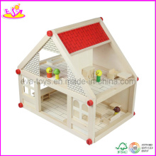 Wooden Dollhouse, with 4 Set Mini Furntiures (W06A033) Ooden Toy Doll House, Popular and Hot Sale Kids Wooden Furntiure Set (W06A033)