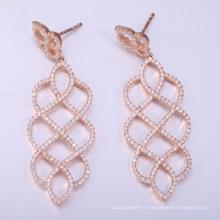 2018 boucles d'oreilles en argent sterling s925 les plus populaires boucles d'oreilles en or rose