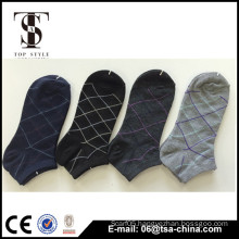 Hot sale check design man sock with mix color yarn knitted