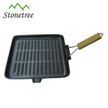 Square grilling cast iron skillet fry pan with removable handle
