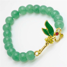 Green Aventurine Gemstone Bracelet with Diamante alloy dragonfly Piece