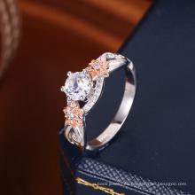 nuevo 2018 tendencia popular dos tonos anillo de oro diamante ronda zirconia boda
