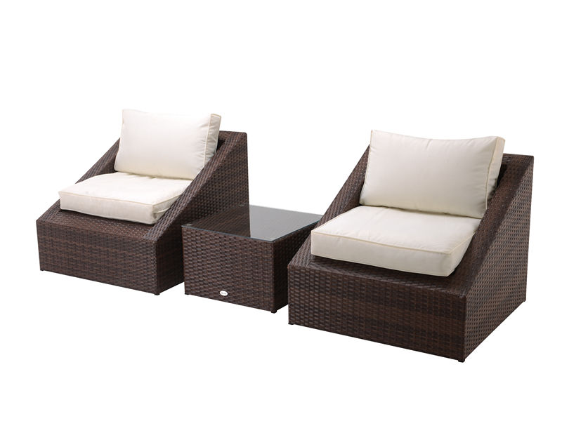 3pc steel rattan chat set S2812
