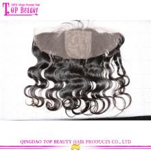 Высокое качество полностью сделанные вручную тела волны шелка закрытие баз кружева лобной