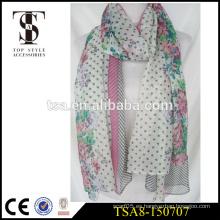 Nuevo musulmán hijab 100% poliéster bufanda seda se sienten como bufandas de flores de colores