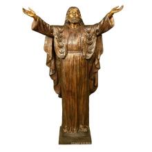 Escultura de metal cristão tamanho de vida acolhedor jesus jardim estátua de bronze
