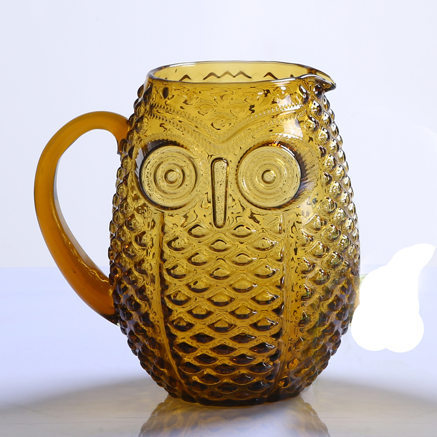 Br 9990 1amber Color Owl Glass Pitcher With Handle With Spout