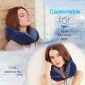 Travel Pillow, Best Memory Foam Neck Pillow Head Support Soft Pillow for Sleeping Rest, Airplane Car & Home Use (Dark Blue)