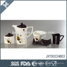 Moderno design único flor decalque chá conjunto eco-friendly pote chá turco