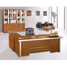 Fabricantes de melamina moderno design de mesa de escritório executivo com mesa lateral em forma de L