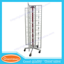 shoe tube revolving four sided display rack stand