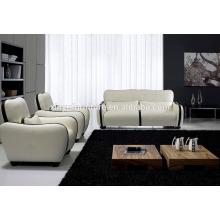 Sofá de cuero blanco y negro KW350