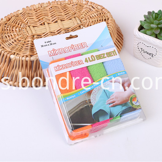 Solid Color Microfiber Cleaning Cloth Set in PVC Box (8)