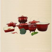 7PCS fabricante de utensilios de cocina de hierro fundido del esmalte de China