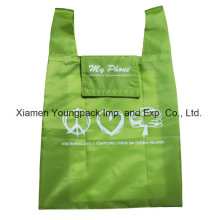 Green Custom Reusable 100% Polyester Foldable Shopping Eco Bag