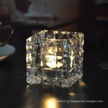 Castiçal de cristal quadrado para decoração de casa