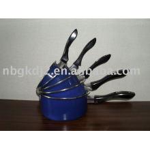 Enamel sauce pan and the pot