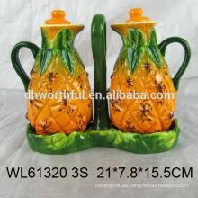 2016 nuevo estilo botella de aceite de cerámica, botella de vinagre de cerámica en forma de piña
