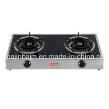 2-Burner Tempered Glass Top Stainless Steel Gas Cooker/Gas Stove