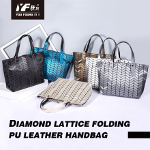 Geometric shopping bag PU fashion women handbag customized lady tote bag