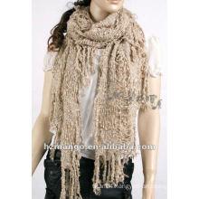 Latest fashion crochet kniting winter tessel scarf