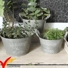 Wholesales Small Rustic Vintage Style Handmade Metal Tin Garden Flower Pot