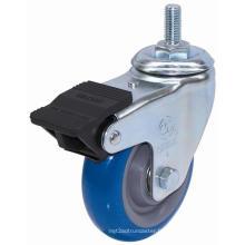 Roulette à tige filetée PU avec double frein (bleu)
