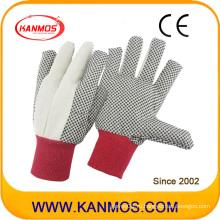 Двойной ладони сшитые ПВХ Плетеный хлопок Хлопок промышленной безопасности безопасности рук перчатки (410022)