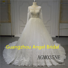 Long Sleeve Sexy Lace and Beading Wedding Dress Bridal Gown