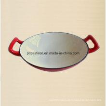 Gusseisen Wok Hersteller aus China Innen weiß außen rot