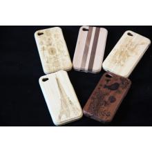 Caso de madeira natural do telefone da caixa de madeira do ambiente para a tampa traseira do iPhone com logotipo da gravura