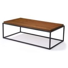 Mesas de centro cuadradas de baja altura con base de metal con tapa de madera
