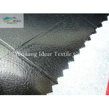 Rejilla negro PU cuero tela/imitación PU cuero tela en relieve