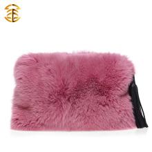 Nouveaux sacs à main réels à la fourrure en soie avec des glands