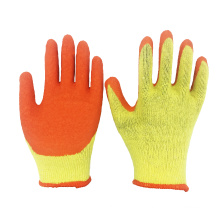 Cheap Type 10G 2Yarn Yellow Polycotton Liner Orange Latex Crinkle Coated Safety Gloves for Construction