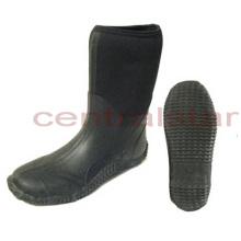 Botas de borracha preta de neoprene MID-bezerro moda (RB011)